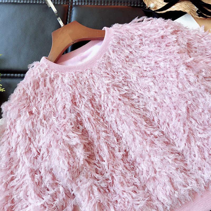 Nieuwe Collectie Fashion Baby Meisje Sweatshirts Kinderen Kleding Herfst Fluwelen Top Baby Meisje Trui Sweatshirts Lange Mouw Veer