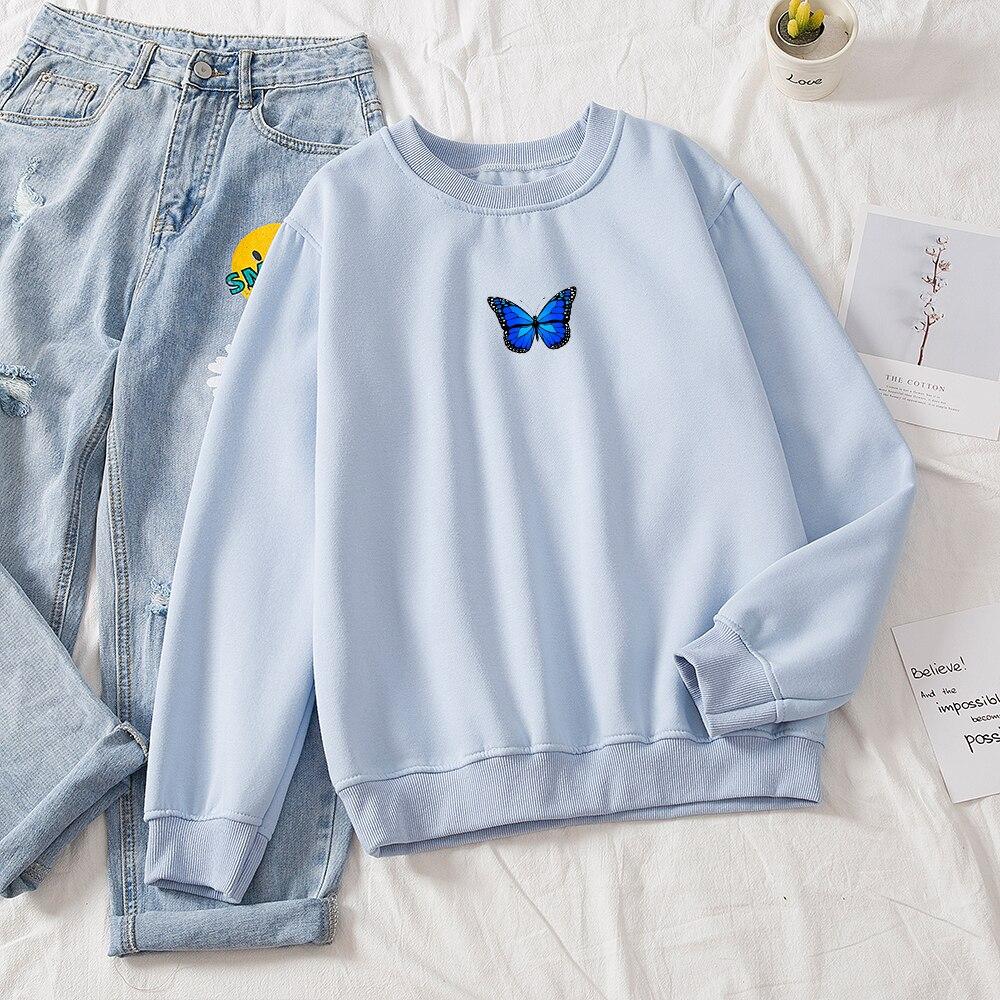 Oversized Sweatshirt Women School Thickening Hot Royal Blue Butterfly Print Round Neck Solid Hoodie Female Aesthetic Sweatshirts 11