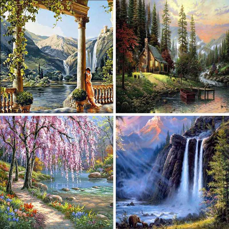 40 * 50cm DIY Digital Oil Painting Landscape Frameless Picture  By Numbers Drawing Colors Canvas Hand Painted Wall Decor Crafts