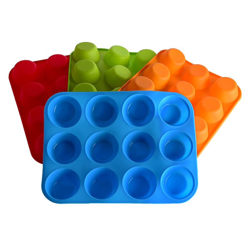 12 Cups Round Muffin Cake Pan Molds Cupcake Pan Baking Silicone Mold