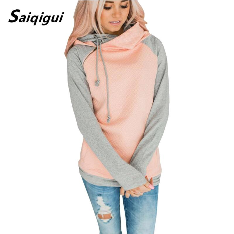 Saiqigui 2019 Autumn Winter Women Hoodies Long Sleeve Hooded Casual Loose Plus Size Sweatshirt Pullovers Sudaderas Para Mujer