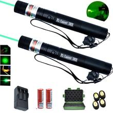 Зеленый лазерный указатель высота Мощный лазерный прицел 1000 м 532nm 5 мВт прибор регулируемым фокусом лазер 303 Лазерный фонарь набор