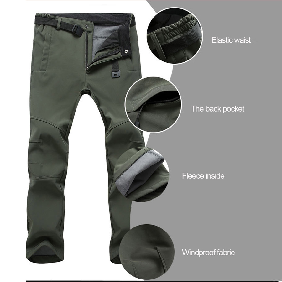 Image 2 - 2019 winter Fleece Hiking Pants Men&Women Outdoodr Warm Softshell Waterproof pants Thermal Camping Skiing Trekking Climbing pant-in Hiking Pants from Sports & Entertainment