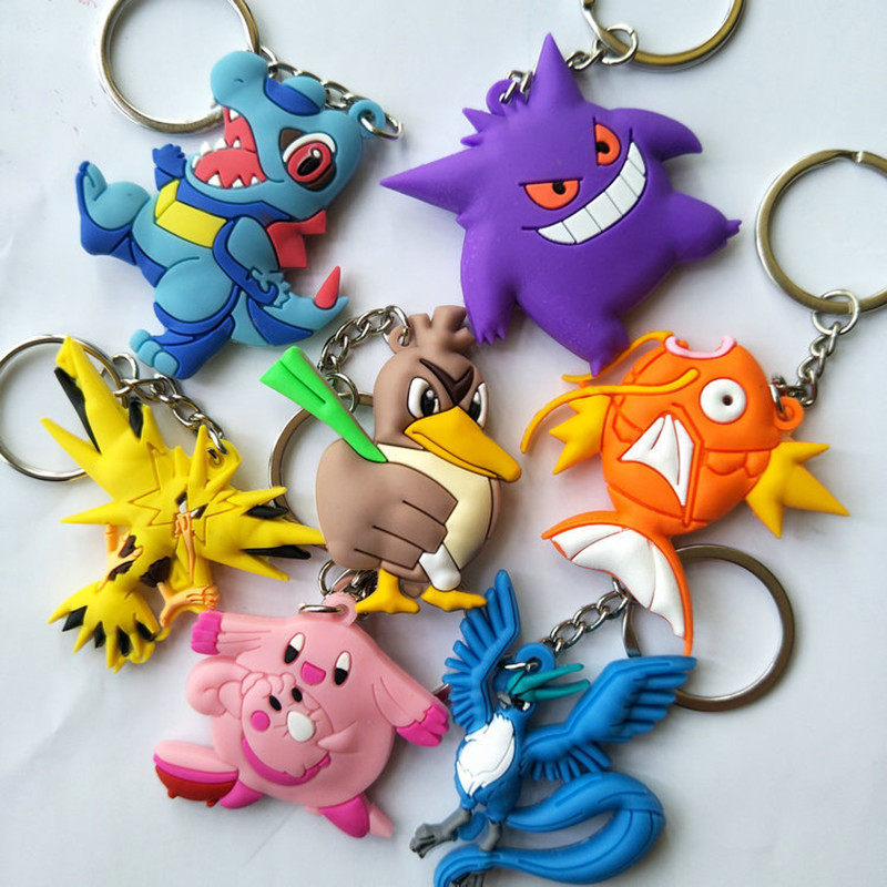 Anime Pokemon Key Chain PVC Keychain Articuno Magikarp Gengar Zapdos Chansey Totodile Cartoon Jewelry Pendant Accessories Gift