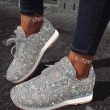 النساء أحذية رياضية بلينغ 2020 الخريف جديد السيدات شقة عادية أحذية مفلكنة الدانتيل يصل في الهواء الطلق رياضة الجري تألق الأحذية