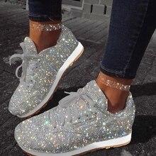 ผู้หญิงรองเท้าผ้าใบ Bling 2020 ฤดูใบไม้ร่วงใหม่สบายๆสุภาพสตรีแบน Vulcanized รองเท้า Lace Up กีฬากลางแจ้งวิ่งประกายรองเท้า