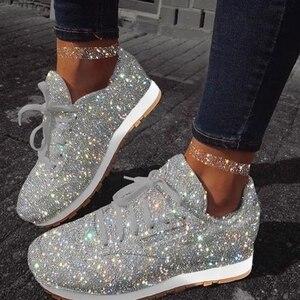 Image 1 - Damskie trampki Bling 2020 jesienne nowe płaskie damskie buty wulkanizowane zasznurowane buty sportowe do biegania na świeżym powietrzu