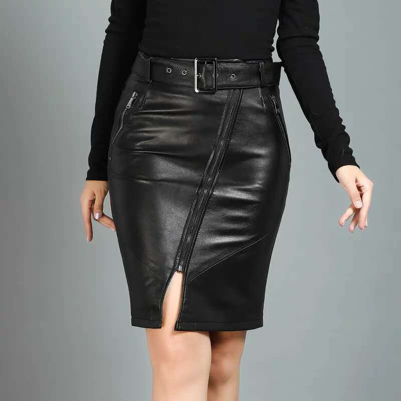 Top Sale║Skirts Genuine-Leather Ladies Streetwear Midi Sexy Black High-Waist Women Sheepskin Slim▀