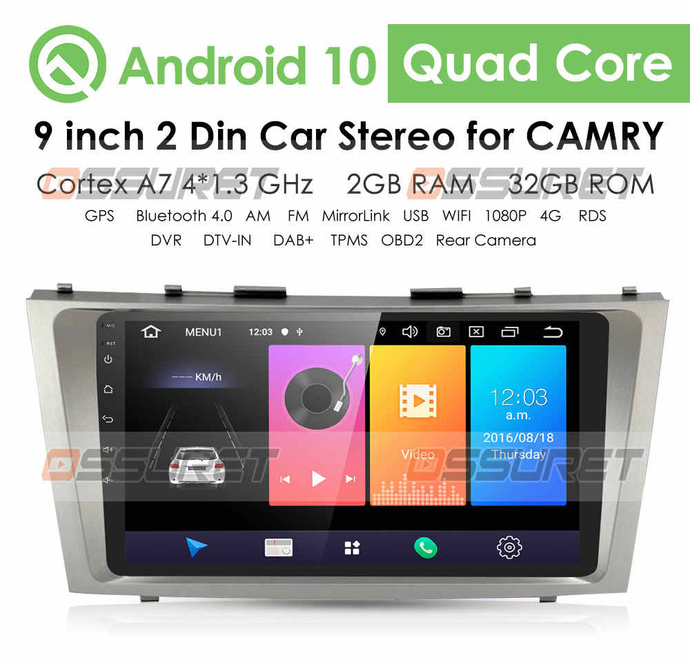 2din Android 9.1 Car Radio GPS Navigasi untuk Toyota Camry 40 50 2007 2008 2009 2010 2011 Mobil Multimedia Player autoradio Stereo