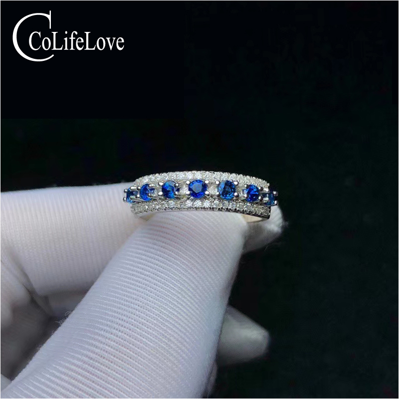CoLife Jewelry 925 Silver Sapphire Ring for Daily Wear 2.5mm Natural Blue Sapphire Silver Ring Classic Silver Ring Gemstone Ring