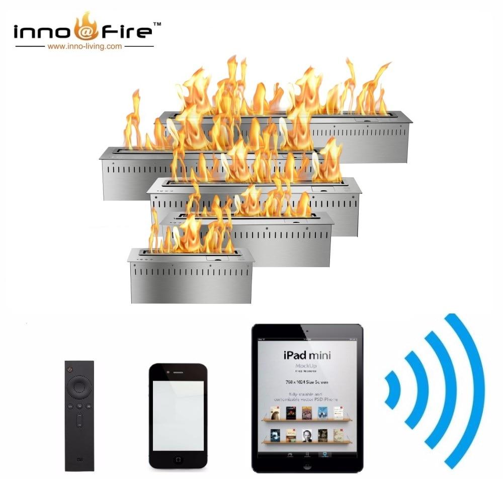Hot Sale 36 Inches Bio Ethanol Chimney Liquid Alcohol Fireplace Voice Controled Burner Insert