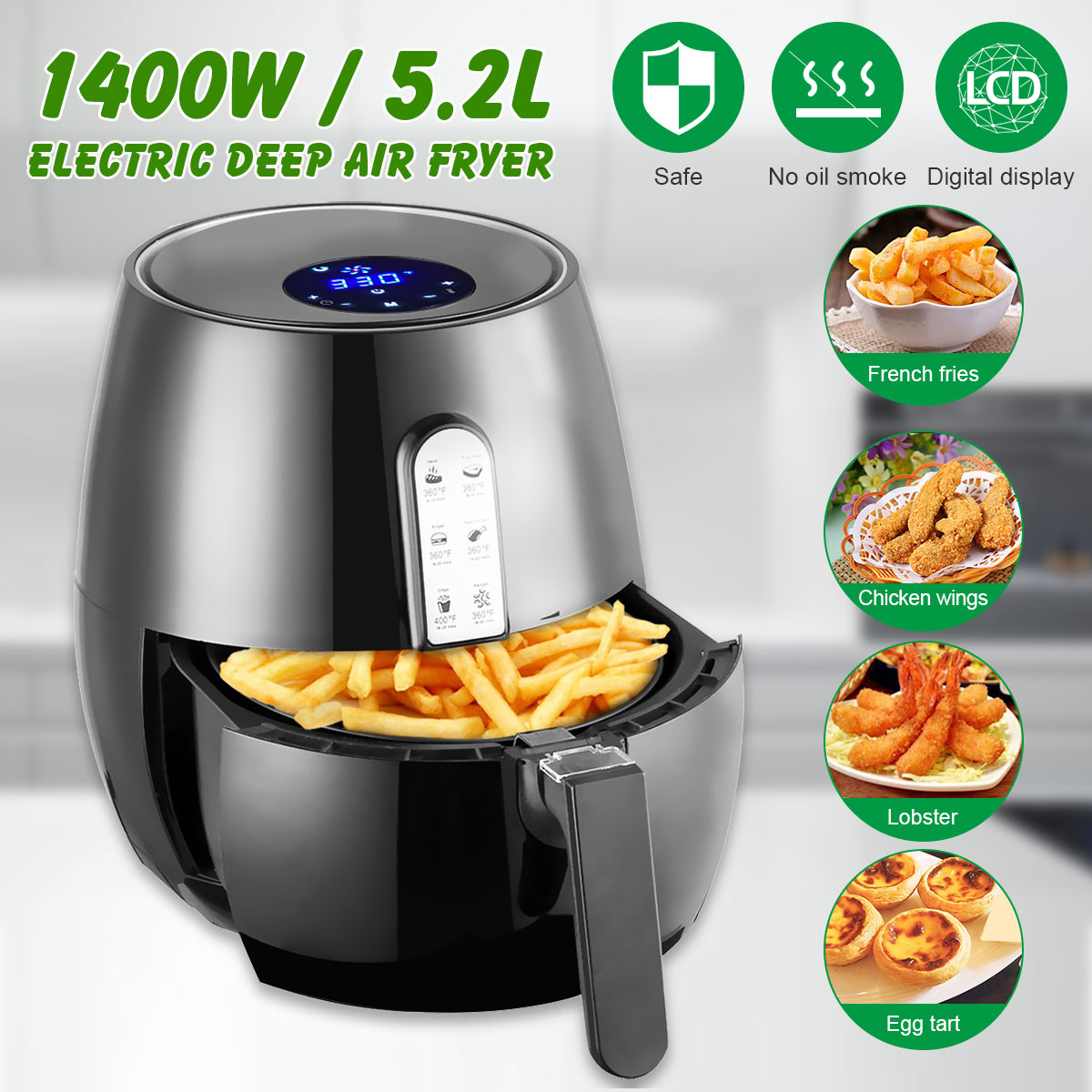 1400W 5.2L Power Air Fryer Digital LED Touch Screen Timer Temperature Control Electric Deep Fryer Air Fryer Kitchen Tools