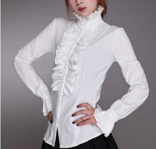 Fashion Victorian Blouses Women OL Office Ladies White Shirt High Neck Frilly Ruffle Cuffs Shirts Female Blouse
