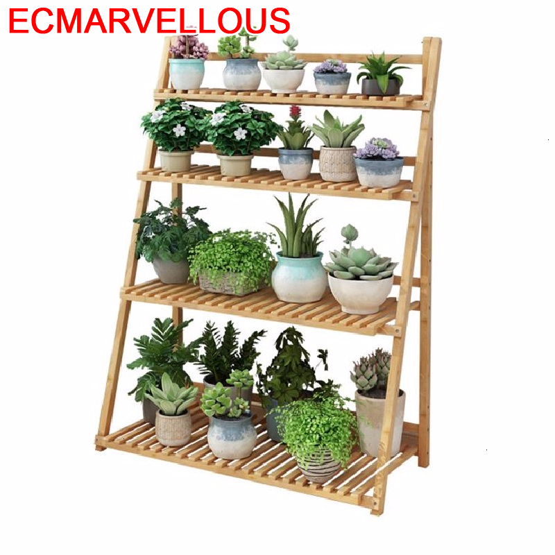 Madera Wood Etagere Pour Plante Rak Bunga Estanteria Para Plantas Indoor Rack Balcony Shelf Outdoor Flower Plant Stand