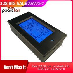 PEACEFAIR DC wyświetlacz cyfrowy woltomierz amperomierz 6.5 100V 4 IN1 LCD Volt Current Watt Power licznik zużycia bulit in bocznik w Mierniki napięcia od Narzędzia na