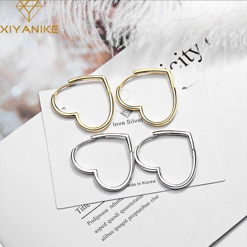 XIYANIKE 925 Sterling Silver nowy modny elegancki serce stadniny kolczyki dla kobiet koreański styl urocze proste Ear Hoops biżuteria