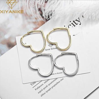 XIYANIKE 925 Sterling Silver nueva moda elegante corazón Stud pendientes para mujeres estilo coreano encantador Simple aros para los oídos joyería