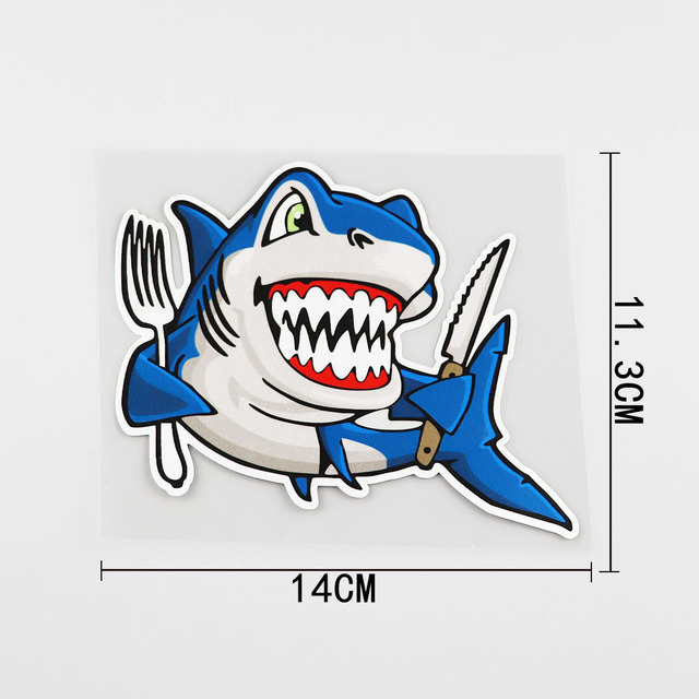 YJZT 14CMX11.3CM Smiling Shark Car Sticker Sharks With Knives And Forks Pvc Decal 6A-0076