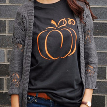 Halloween Pumpkin Graphic T-shirt Women Fashion 90s Funny Cotton Tops Grunge Tumblr T Shirt