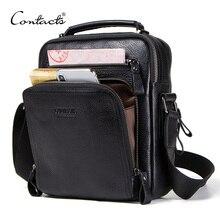 CONTACT'S 100% genuine leather men shoulder bag crossbody bags for men high quality bolsas fashion messenger bag for 9.7