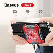 Baseus мобильный телефон кулер для iPhone XR Xs Max Xs X 8 7 6 6s Plus чехол для телефона 3 в 1 Charing& Audio& Fans телефон охлаждающий игровой чехол