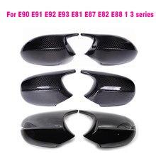 Чехлы для зеркал заднего вида для Bmw 1 3 серии E81 E82 E87 E88 E90 E91 E92 116i 118i 120i 320i 328i 330i, черные, глянцевые, из углеродного волокна
