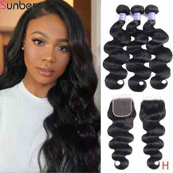 Sunber Hair Brazilian Body Wave With Closure High Ratio Remy Hair Bundles With Closure 100% Human Hair Bundles With Closure - DISCOUNT ITEM  48% OFF All Category