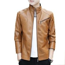 купить Men Leather Jacket Men Stand Collar Zipper Jacket 2019 Autumn New Men's Slim Fit Pu Jacket Coat Male Leisure Baseball Outwear дешево