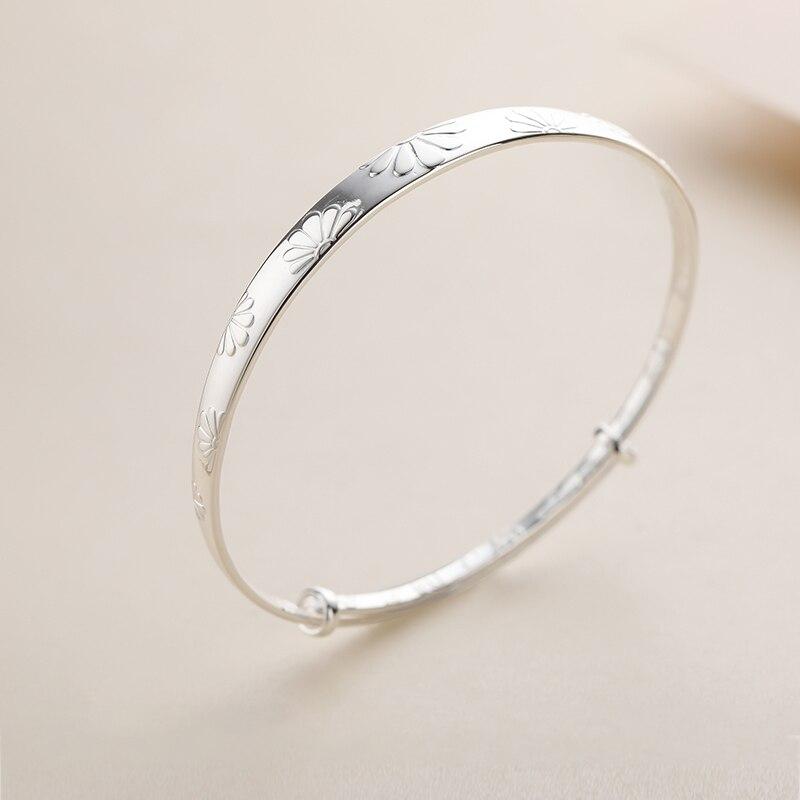 SA SILVERAGE Bracelet To Give Birthday Gifts Original Sterling Women Silver Design 2019 Daisy S990 Silver Girl Bracelet Sterling