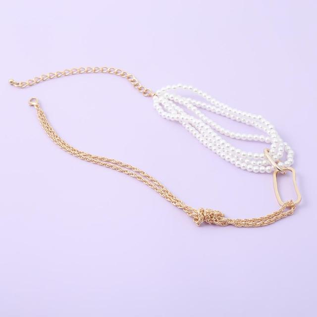 Chunky Thick Twist Chain Necklace  Gothic Multi Layered Imitation Pearl 5