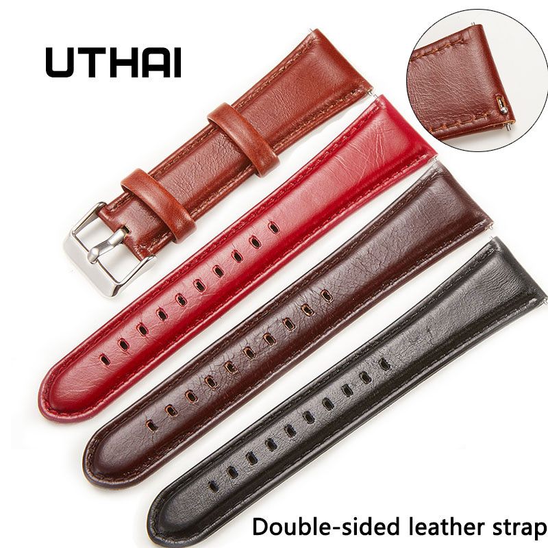 UTHAI P37 Geniune Leather Watchbands 18MM 20MM 22MM 24MM Double-sided Leather Strap For Samsung Galaxy Watch  Watch Accessories