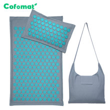 Nature Linen Coconut palm Massage Yoga mat sport pillow mat with bag Lotus Spike Acupressure Mat Cushion(China)