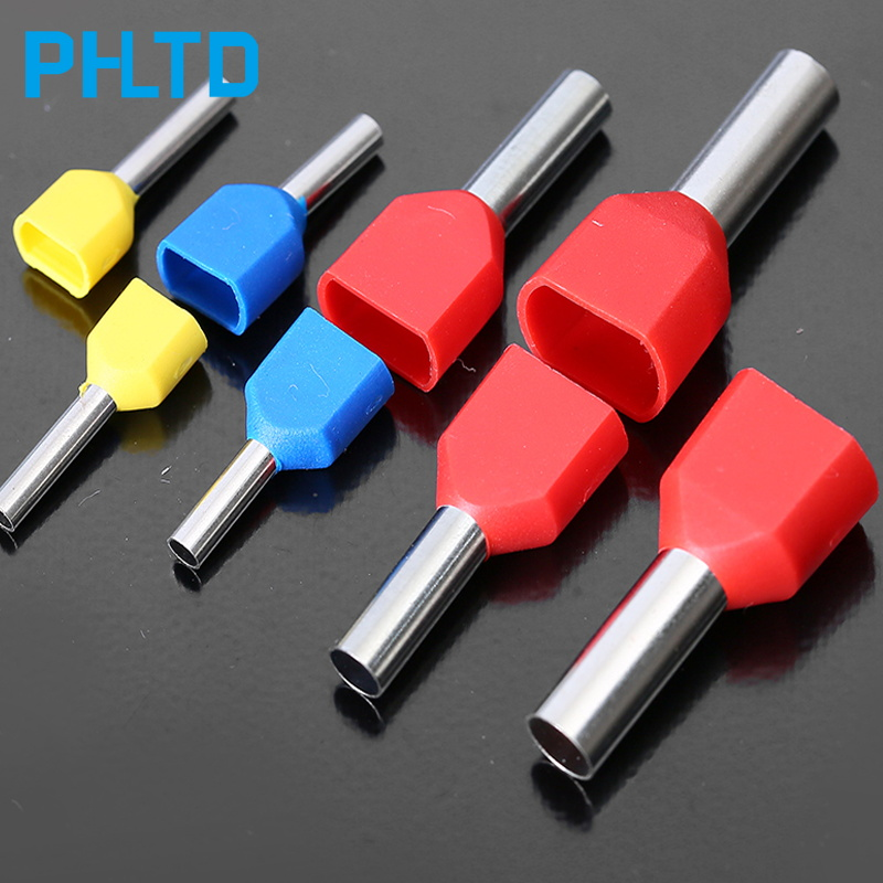 Cold-pressed end double wire tubular insulated tubular terminal cable connector 50PCS TE1008 TE1010 TE1012 wire connector