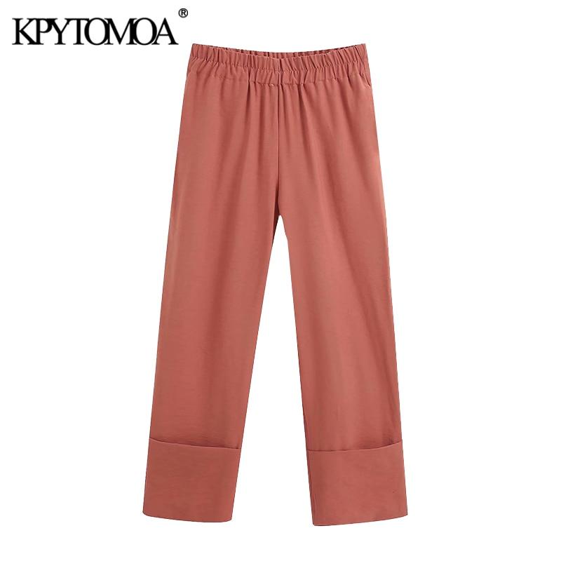 KPYTOMOA Women 2020 Chic Fashion Office Wear Turn Up Pants Vintage High Elastic Waist Side Pockets Female Ankle Trousers Mujer