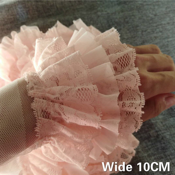 10CM Wide Three Layers Lace Skin Pink 3D Pleated Chiffon Fabric Embroidered Fringe Ruffle Trim Fluffy Dress Sewing DIY Ribbon(China)