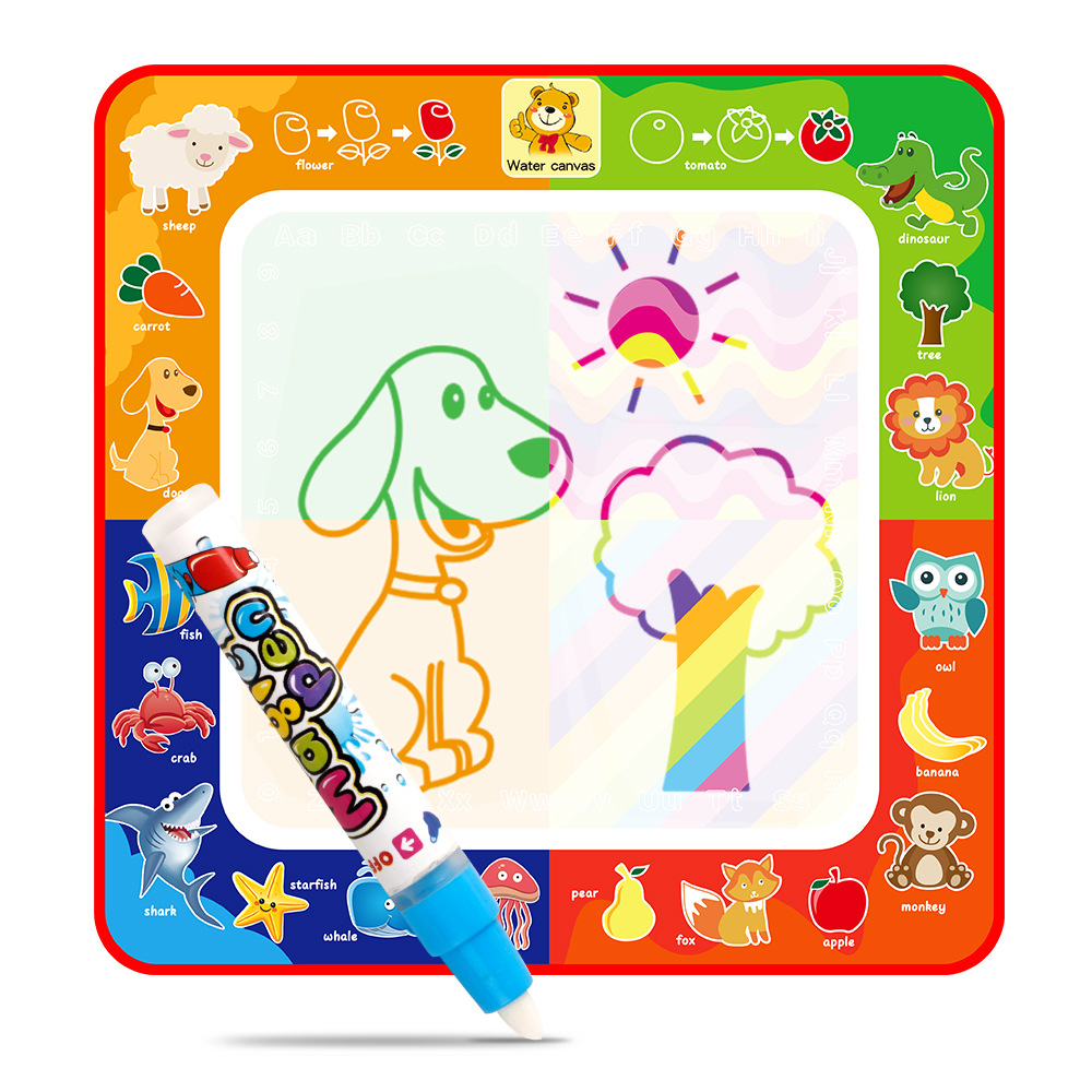 Children Magic Water Canvas 29*29 Multi-functional Water Write Graffiti Doing Homework Animal Canvas Toys For Children And Infan