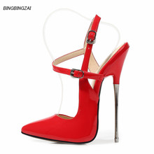 BBZAI New pattern shoes woman Metal high heels 16CM Pointed Toe Thin Heels Pumps Spring Autumn Large-size shoes USA 4-12 13 cheap NoEnName_Null Super High (8cm-up) Slingbacks Party Fits larger than usual Please check this store s sizing info Rubber