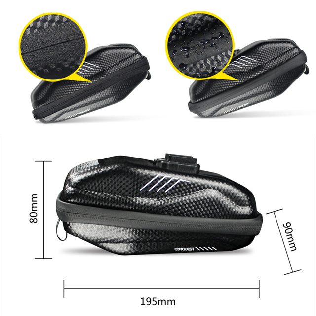 NEWBOLER 1.5L Hard shell Bicycle Saddle Bag Waterproof Cycling Panniers MTB Bike Rear Tool Bag Night Reflective Bike Accessories 2