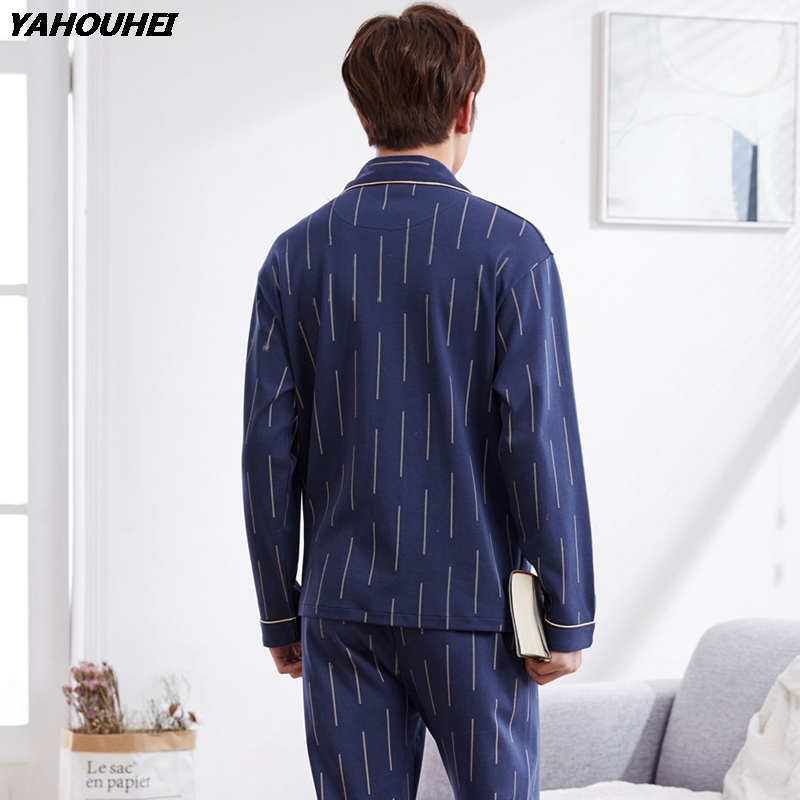Casual Striped Cardigan Homewear 100% Cotton Pajamas Sets For Men 2018 Autumn Winter Long Sleeve Pyjama Male Lounge Home Clothes