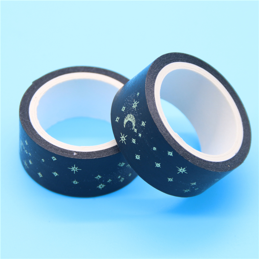 Black Moon Stars Masking Tape Paper Sticky Adhesive Sticker Decorative Washi Tape 1.5cm X 5m Cute Stationary Washi Tape
