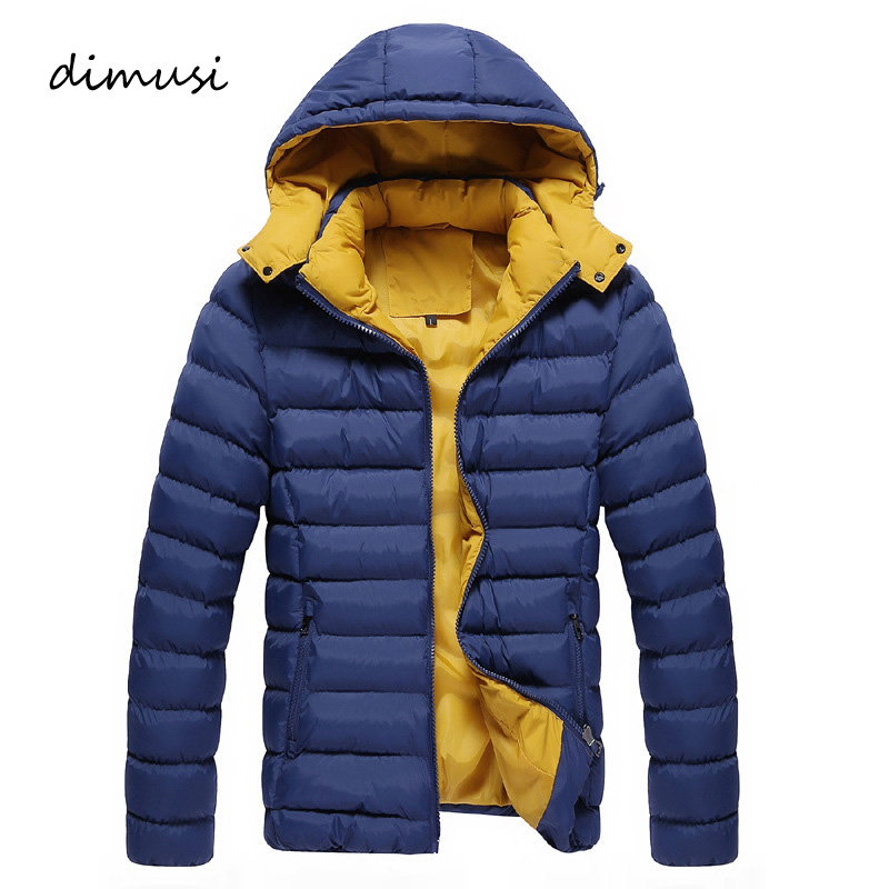 DIMUSI Mens Jackets Winter Fashion Cotton Thick Hooded Parkas Man Casual Outwear Windbreaker Coats Bomber Jackets Men Clothing