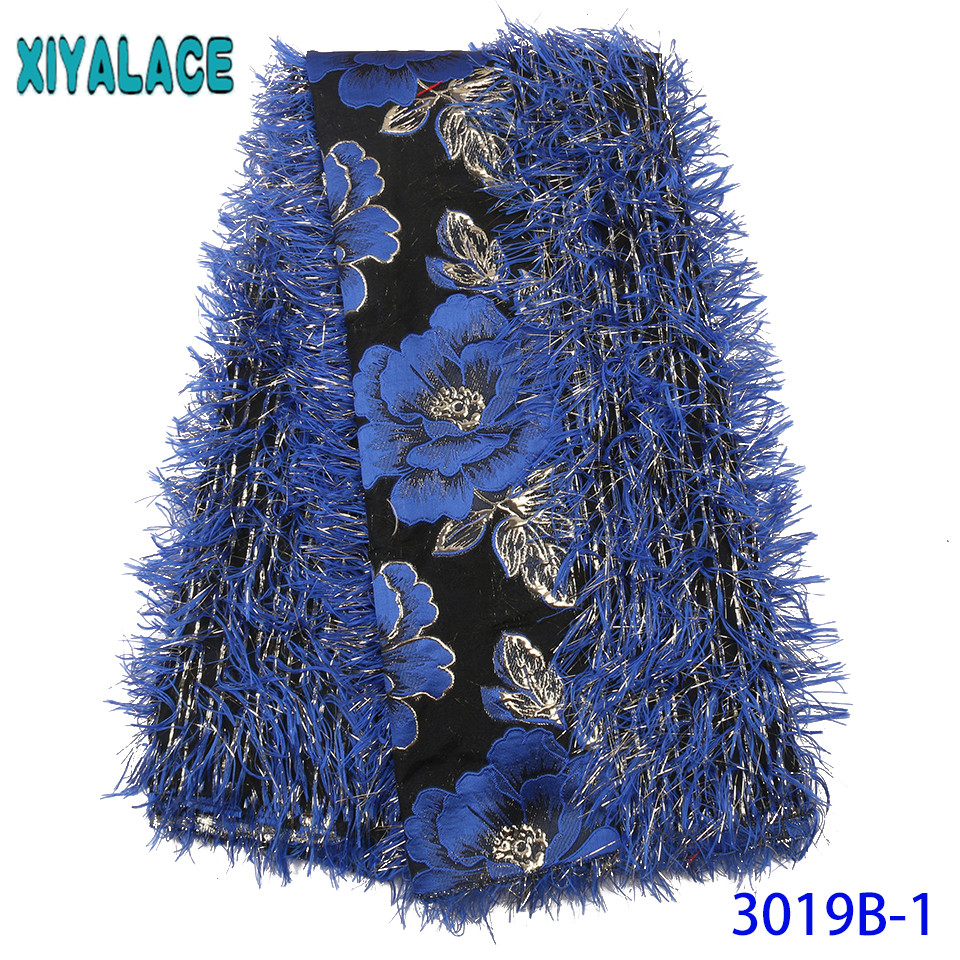 2019 Brocade Fabric Lace Newest Flower Brocade  Design French Lace Fabric With Feather For Women Dress KS3019B-1