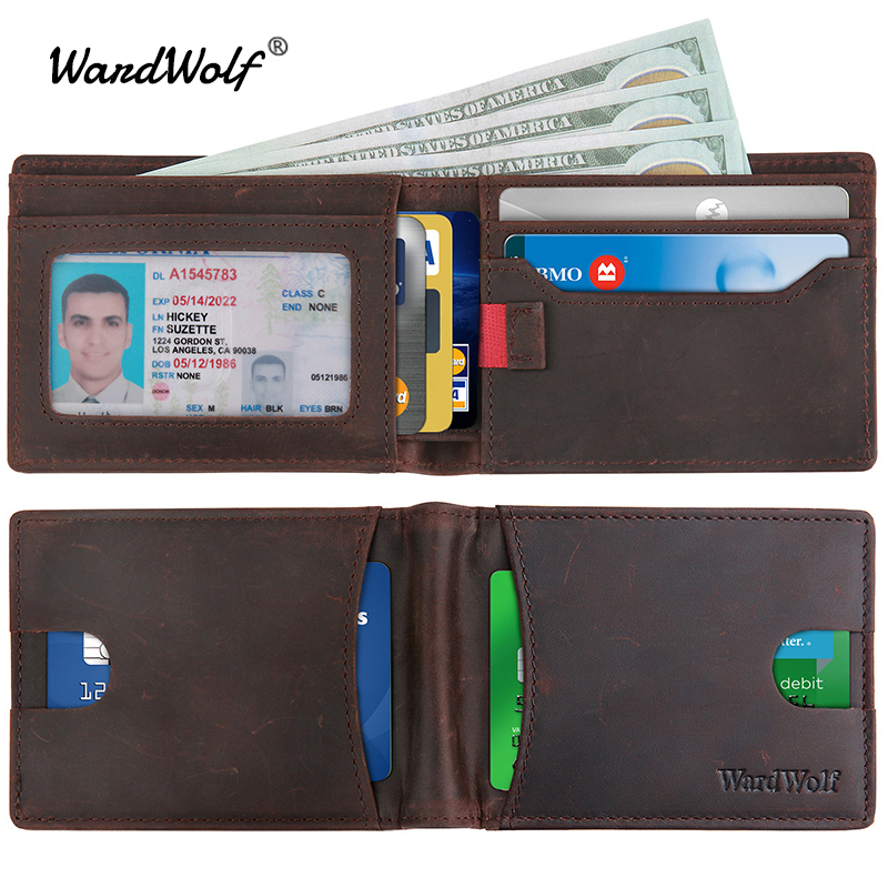 WardWolf Genuine Leather Wallets Billfold Purse For Men Crazy Horse Cowhide Leather Vintage Travel Wallet Male RFID Blocking