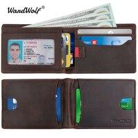 WardWolf Genuine Leather Wallets Billfold Purse for Men Crazy Horse Cowhide Leather Vintage Travel Wallet Male RFID Blocking