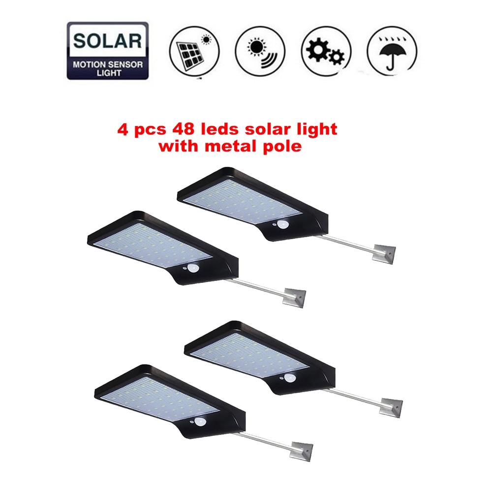 2/4pcs 48 LED Wireless Solar Light Outdoor Decor Waterproof PIR Motion Sensor LED Solar Wall Lamp For Outdoor Yard Garden Lamps