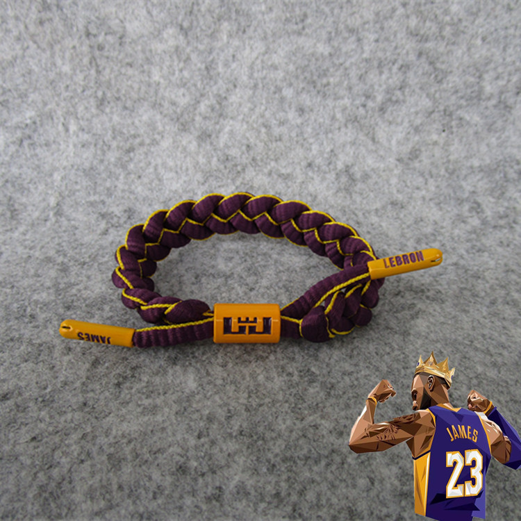 Basketball Star Lakers Lebron. James Shoe Lace Bracelet Lakers-Sports Wrist Strap Bracelet With Fans