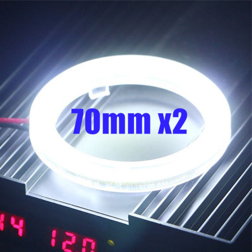 1Pair White 70MM COB LED Angel Eyes Headlight Halo Ring Warning Lamps With Cover