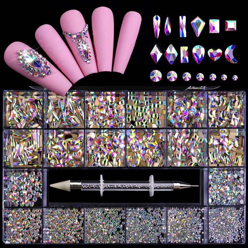 21 Grid Nail Art Gift Box High Quality Color Nail Art Flat Glass Special-shaped Diamond Mixed Set for Girlfriend Nail Gift