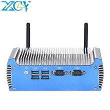 XCY Fanless Mini PC Intel i7 5500U 4500U Windows 10 pro Linux Thin Client Minipc Pfsense Micro 2Lan Tv Industrial Computers