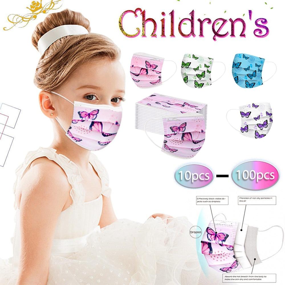 10/20 Вт, 30 Вт, 40/50/100 шт одноразовая маска для лица маска для детей розового цвета с принтом «бабочка» маска для лица для личного 3ply петли уха ма...